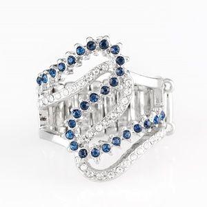 Make Waves - Blue Rhinestone Ring